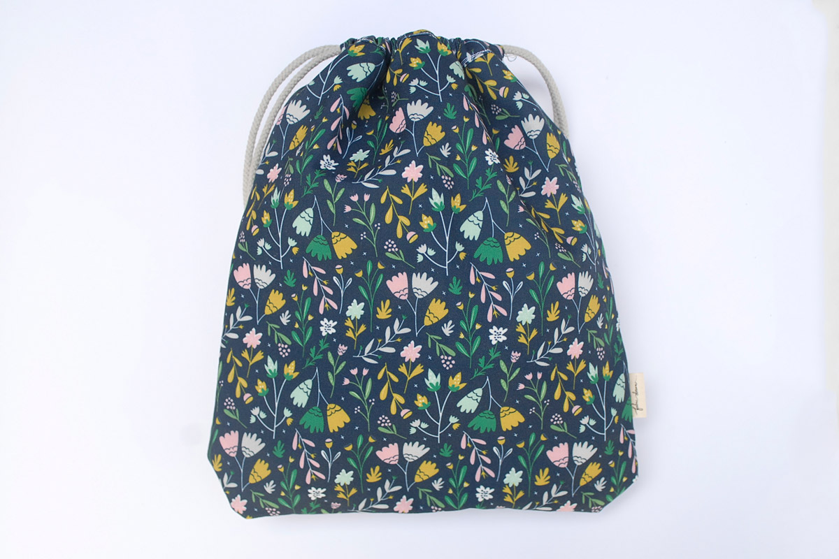 Drawstring Bag in My Garden Print